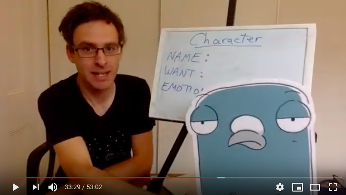 Screenshot of Andrew McDonald doing a virtual writing workshop on YouTube