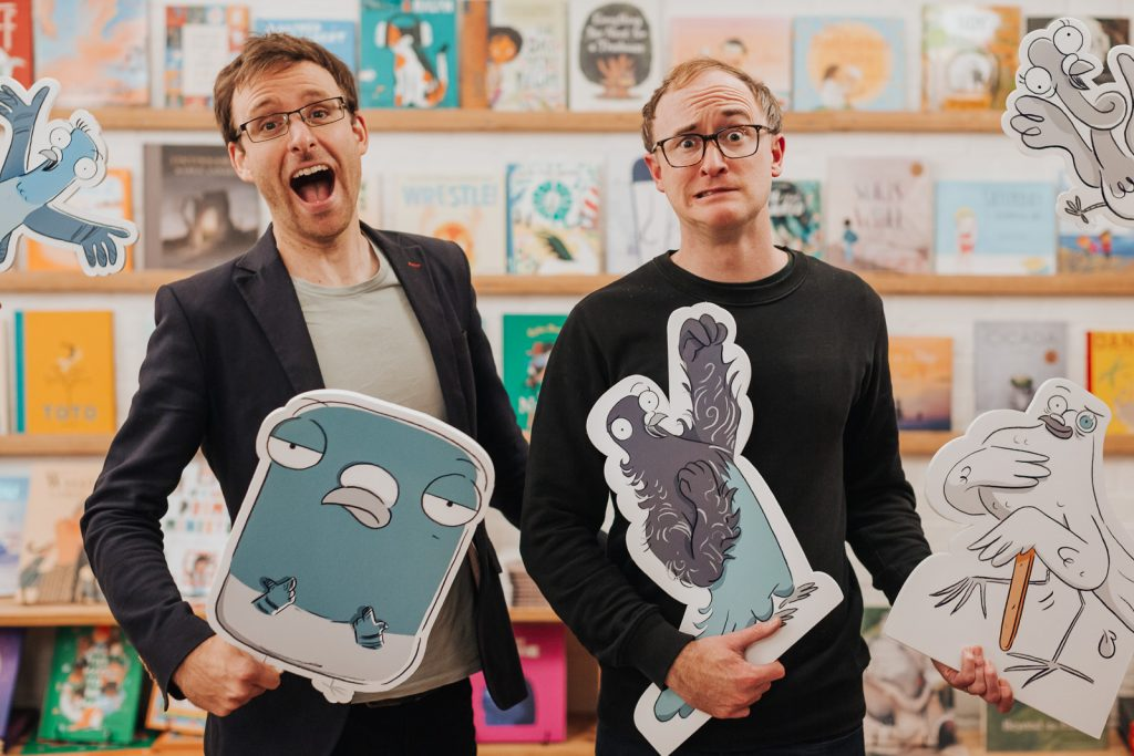 Andrew McDonald and Ben Wood, co-creators of the Real Pigeons books